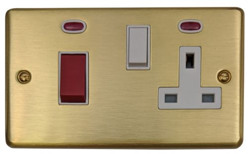 G&H CSB29W Standard Plate Satin Brushed Brass 45 Amp DP Cooker Switch & 13A Switched Socket
